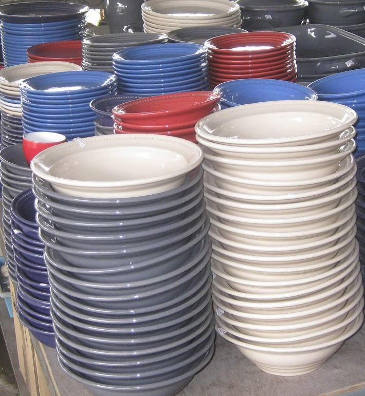 Crockery in cool colours